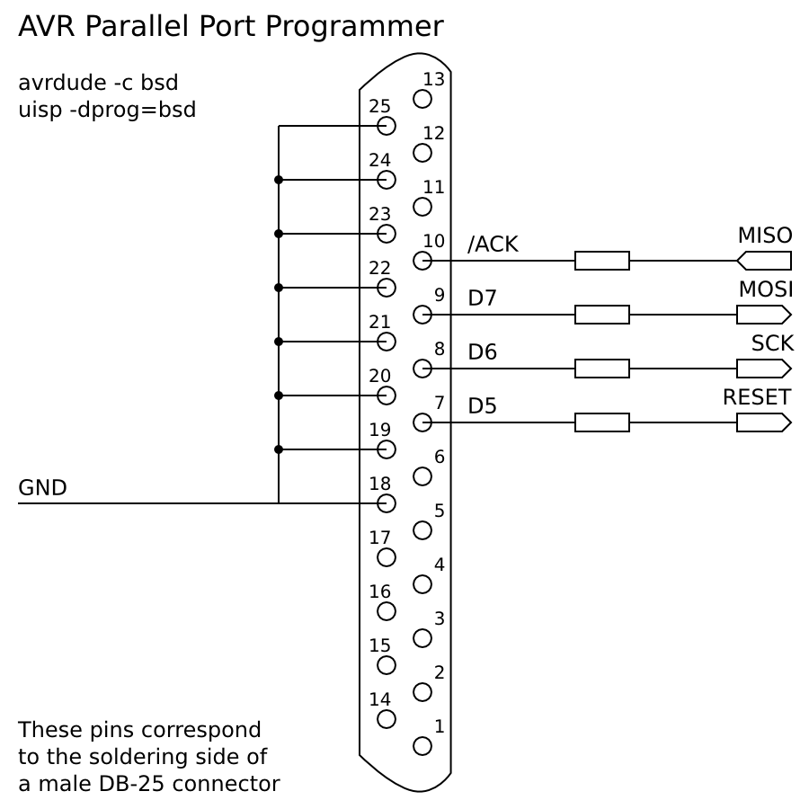 Parallel Port Pinout Diagram Wiring Schematic For Avr Isp Model Version 900x900