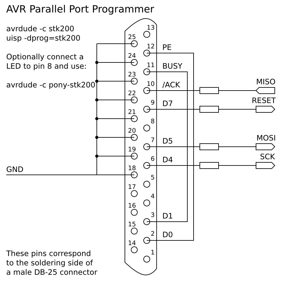 First Contact With Atmega8 Microcontroller Part 2 Denilson S Avr Programmer Via Parallel Port Isp Model Stk200 Version Svg