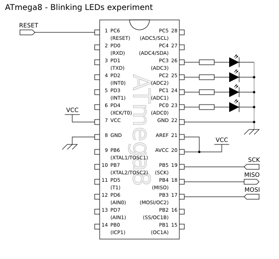 Schematic diagram for this 'blinking LEDs' circuit.